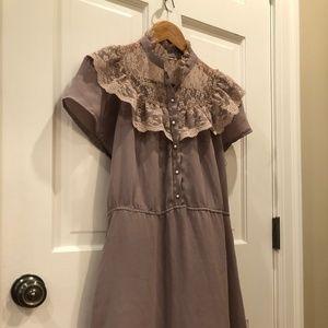 Lavender Lacy Vintage Button Up Dress